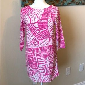 Buddy Love Palm Print Pink White Dress